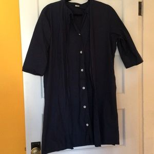 """Navy tunic dress, layered """"artist trench"""" look"""